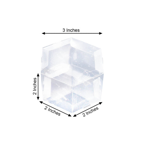 "25 Pack Plastic Clear Hexagon Favor Candy Boxes - 4"" x 2"" x 3"""