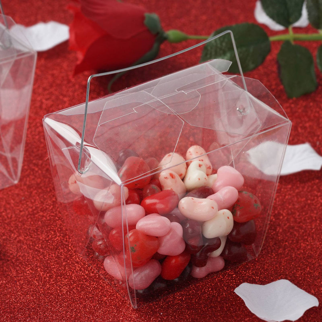 Clear Chinese Take Out Favor Boxes : Clear large take out favor plastic pvc boxes with handle
