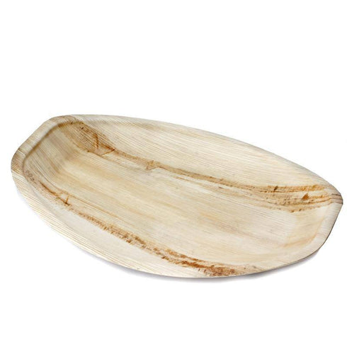"14.8"" Concave Oval Eco-Friendly Palm Leaf Plate 10pk - Chambury Casa"