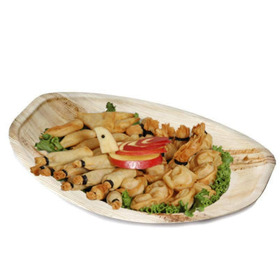 "10 Pack 12"" Eco-friendly Concave Oval Palm Leaf Disposable Plate"