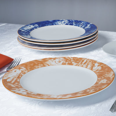 "Dishwasher Safe 11.5"" Porcelain Chip Resistant Dinner Plate - Orange - Set of 12"
