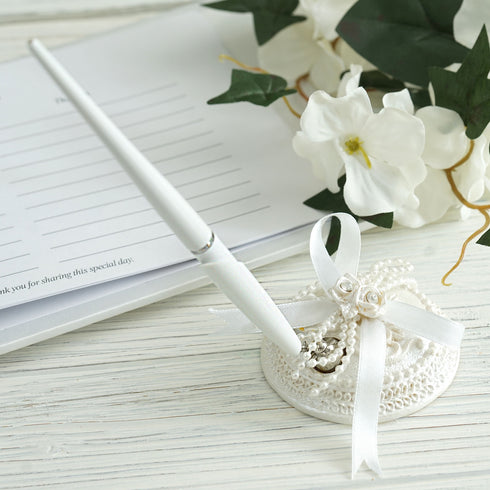 Handcrafted White Satin Bow Pen & Holder Set