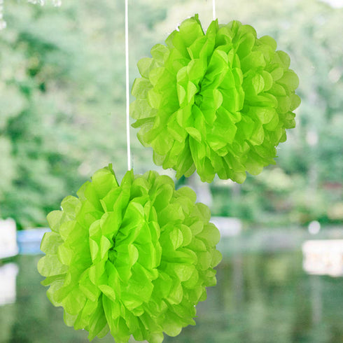 "6"" Paper Tissue Fluffy Pom Pom Flower Balls - 12pcs - Apple Green"
