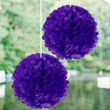 "6"" Eggplant Paper Tissue Fluffy Pom Pom Flower Balls For Bridal Shower Wedding Birthday Party - 12 PCS"