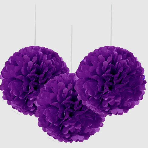 "6"" Paper Tissue Fluffy Pom Pom Flower Balls - 12pcs - Purple"
