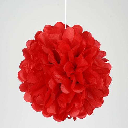 "6"" Red Paper Tissue Fluffy Pom Pom Flower Balls For Bridal Shower Wedding Birthday Party - 12 PCS"