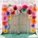 "8"" Tea Green Paper Tissue Fluffy Pom Pom Flower Balls - 12pcs"