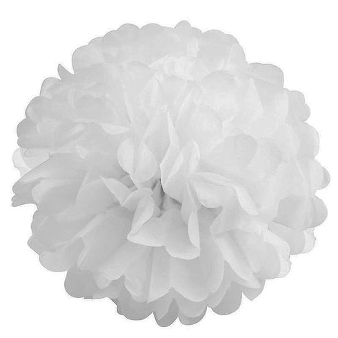 "10"" Paper Tissue Fluffy Pom Pom Flower Balls - 12pcs - White"
