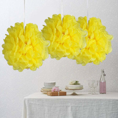 10 paper tissue fluffy pom pom flower balls 12pcs yellow mightylinksfo