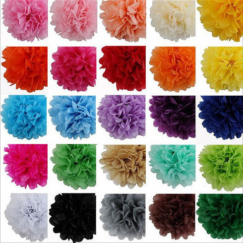 "14"" Paper Tissue Fluffy Pom Pom Flower Balls - 12pcs - Apple Green"