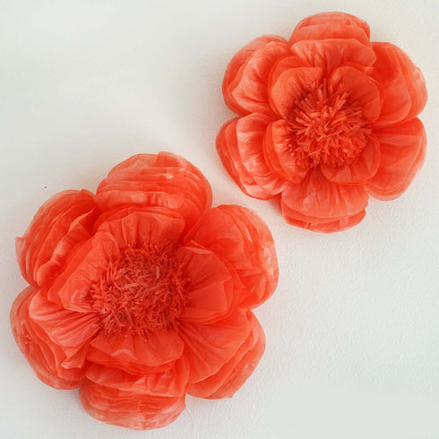 "2 Size Pack | Peony Coral 3D Wall Flowers Giant Tissue Paper Flowers - 12"",16"""