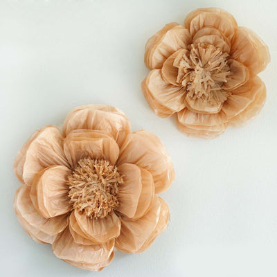"2 Size Pack | Peony Natural Sand 3D Wall Flowers Giant Tissue Paper Flowers - 12"",16"""