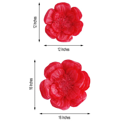 "2 Size Pack | Peony Fushia 3D Wall Flowers Giant Tissue Paper Flowers - 12"",16"""