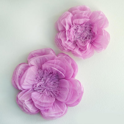 "2 Pack 12"" & 16"" Lavender Giant Bloomed Peony Paper Flower"