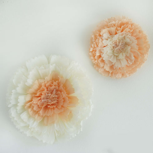 "2 Size Pack | Carnation Natural Sand 3D Wall Flowers Giant Tissue Paper Flowers - 12"",16"""