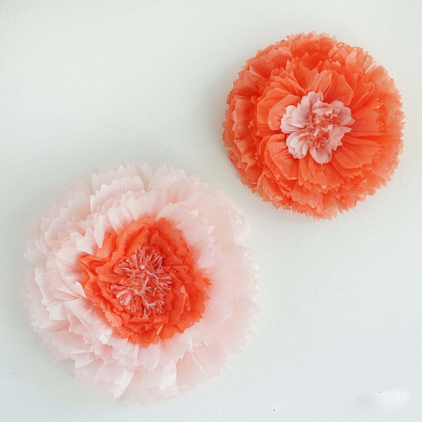 "2 Size Pack | Carnation Coral 3D Wall Large Tissue Paper Flowers Wholesale - 12"",16"""