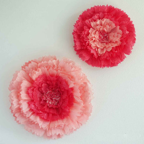 "2 Size Pack | Carnation Fushia 3D Wall Flowers Giant Tissue Paper Flowers - 12"",16"""