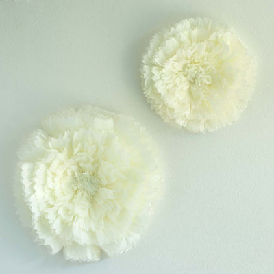 "2 Size Pack | Carnation Ivory 3D Wall Flowers Giant Tissue Paper Flowers - 12"",16"""