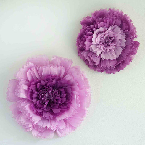 "2 Size Pack | Carnation Purple 3D Wall Flowers Giant Tissue Paper Flowers - 12"",16"""