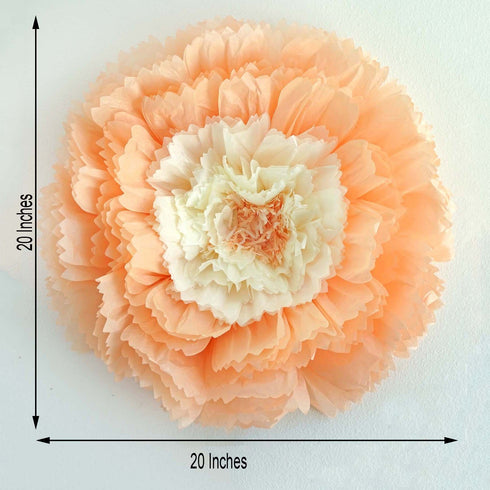 "20"" Carnation Light Coral 3D Wall Flowers Giant Tissue Paper Flowers"