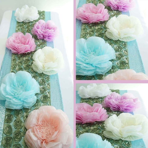 "2 Pack 12"" & 16"" Mint Green Giant Bloomed Peony Paper Flower"