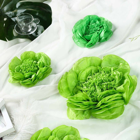 6 Pack Mint & Apple Green Giant Paper Flowers Peony Assorted Sizes -  12"
