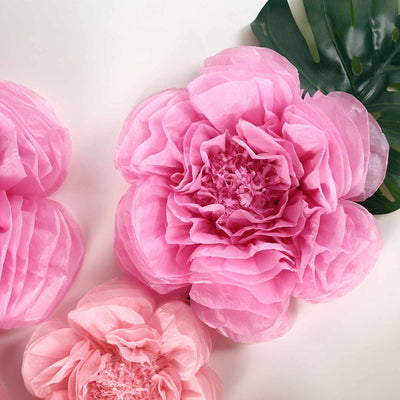 6 Pack Blush & Pink Giant Paper Flowers Peony Assorted Sizes -  12"