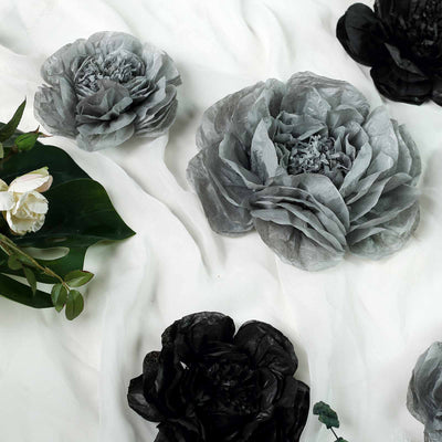 6 Pack Black & Charcoal Grey Giant Paper Flowers Peony Assorted Sizes -  12"