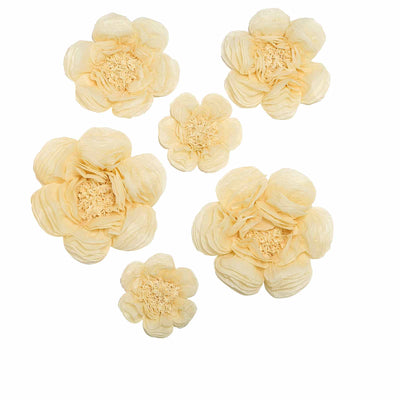 6 Pack Ivory & Cream Giant Paper Flowers Peony Assorted Sizes -  12"