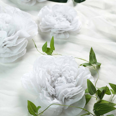 6 Pack White Giant Paper Flowers Peony Assorted Sizes -  12"