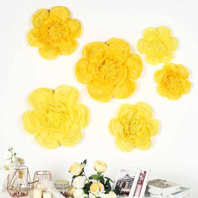 6 Pack Light & Dark Yellow Giant Paper Flowers Peony Assorted Sizes -  12"