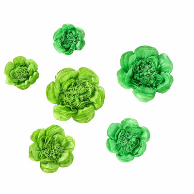 6 Pack Mint & Apple Green Assorted Size Paper Peony Flowers - 7"