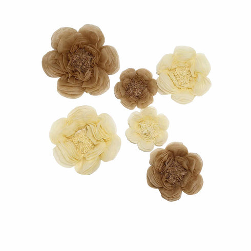 6 Pack Natural & Cream Assorted Size Paper Peony Flowers - 7"