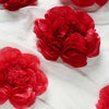 6 Pack Red & Wine Assorted Size Paper Peony Flowers - 7"