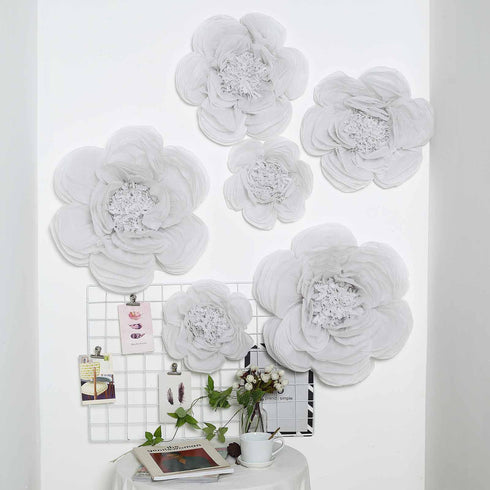 6 Pack White Assorted Size Paper Peony Flowers - 7"