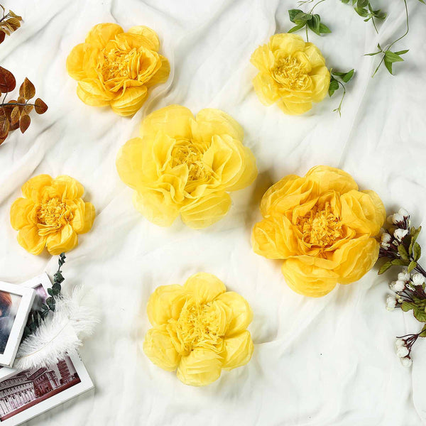 Pack of 6 - Light & Dark Yellow Assorted Size Paper Peony Flowers - 7"