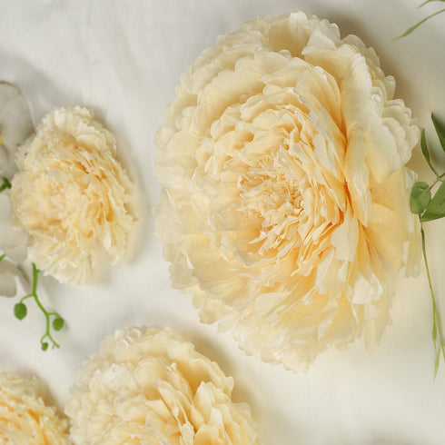 "6 Multi Size Pack | Carnation Ivory/Cream 3D Wall Large Tissue Paper Flowers Wholesale  - 12"",16"",20"""