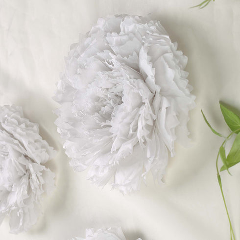 "6 Multi Size Pack | Carnation White Dual Tone 3D Wall Large Tissue Paper Flowers Wholesale - 12"",16"",20"""