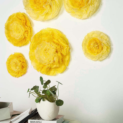 "6 Multi Size Pack | Carnation Yellow Dual Tone 3D Wall Flowers Giant Tissue Paper Flowers - 12"",16"",20"""