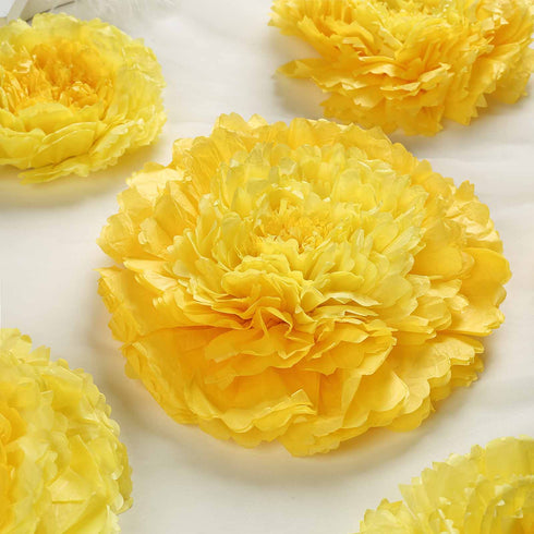 Pack Of 6 Yellow Multi Size Carnation 3d Giant Paper Flowers Paper Flower Backdrops Wedding Wall 7 9 11