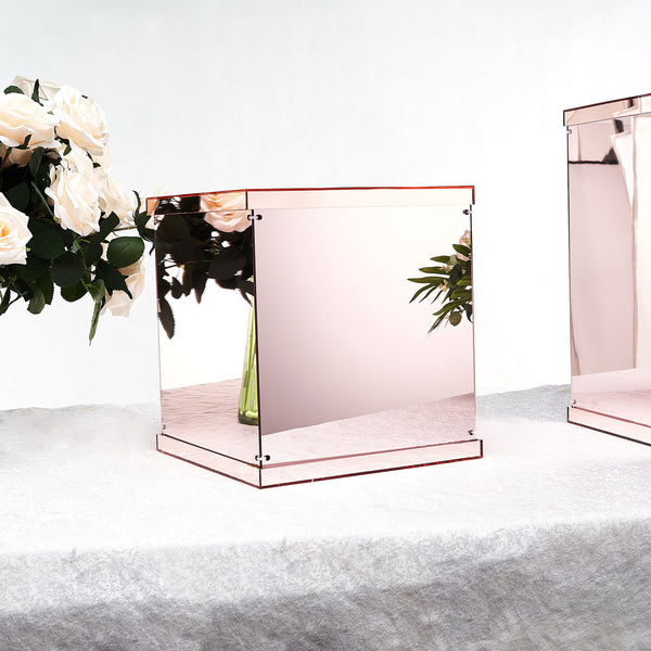 "12"" Mirror Finish Acrylic Pedestal Risers - Display Boxes with Interchangeable Lid and Base - Rose Gold 