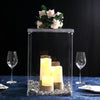 "16"" Clear Acrylic Pedestal Risers - Transparent Acrylic Display Boxes with Interchangeable Lid and Base"