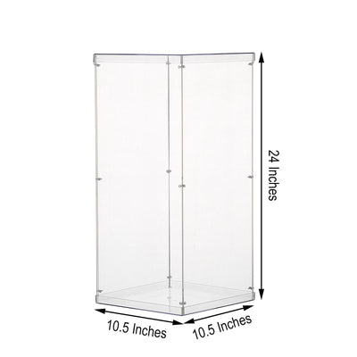 "24"" Clear Acrylic Pedestal Risers - Transparent Acrylic Display Boxes with Interchangeable Lid and Base"