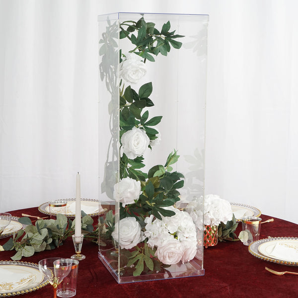 "32"" Clear Acrylic Pedestal Risers - Transparent Acrylic Display Boxes with Interchangeable Lid and Base"