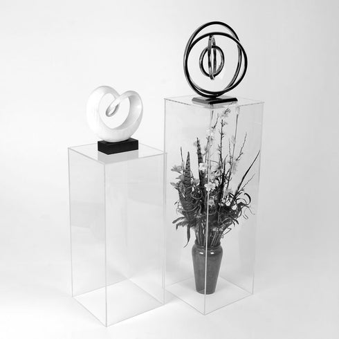 "Set of 5 - Clear Acrylic Pedestal Risers & Floor Standing - Transparent Acrylic Display Boxes with Interchangeable Lid and Base - 12"", 16"", 24"", 32"", 40"""