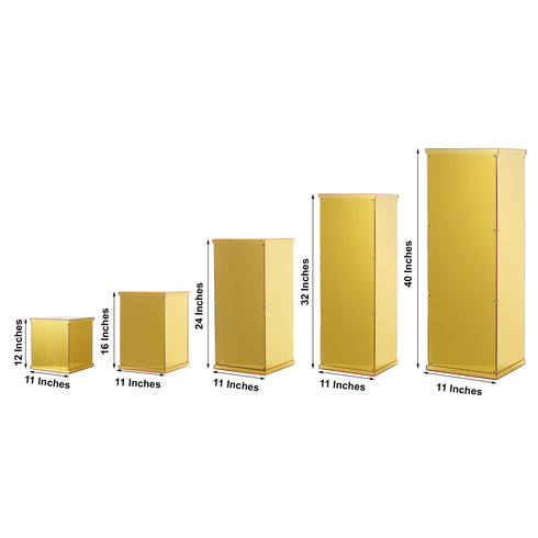 Gold Acrylic Pedestal Risers - Transparent Acrylic Display Boxes