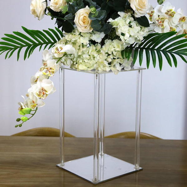 "16"" Clear Acrylic Floor Vase Flower Stand With Mirror Base, Wedding Column"