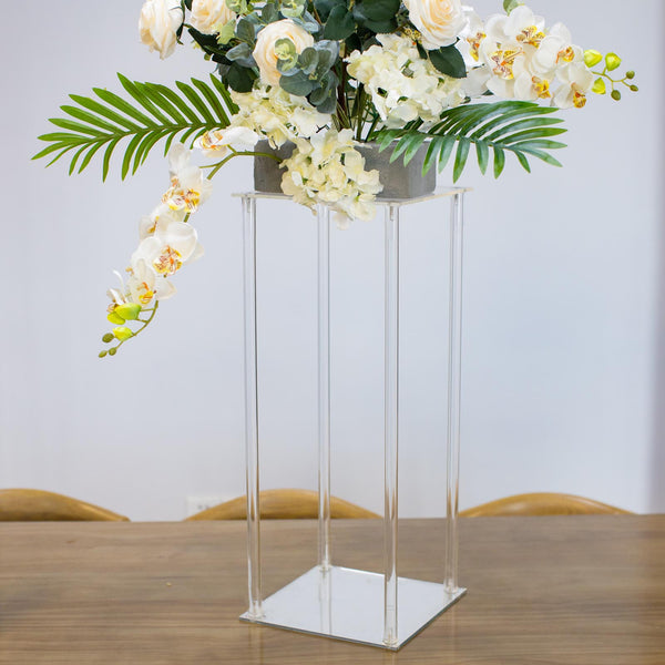 "24"" Clear Acrylic Floor Vase Flower Stand With Mirror Base, Wedding Column"
