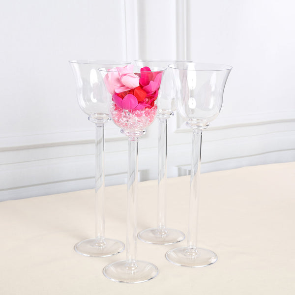 "4 Pack | 18"" Cup Flower Vase With Fillable Stem"