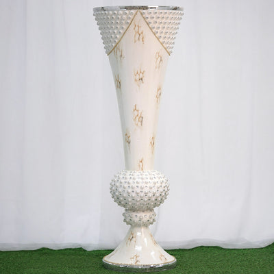 "43"" Large Peal Embellished White Trumpet Floor Flower Pot Vase With Mirror Mosaic Decoration"